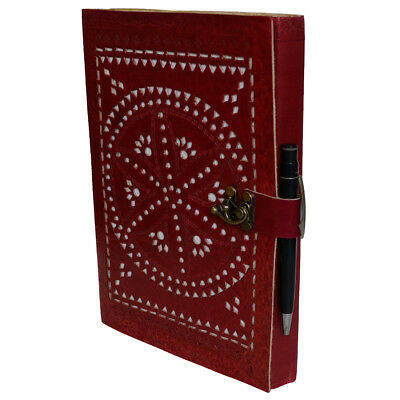 Handmade Genuine Vintage Leather Red Notebook Diary Carved Travel Office Journal