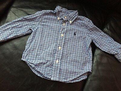 Baby boy Ralph Lauren Polo 9 - 12 Months Blue & White check gingham Oxford Shirt