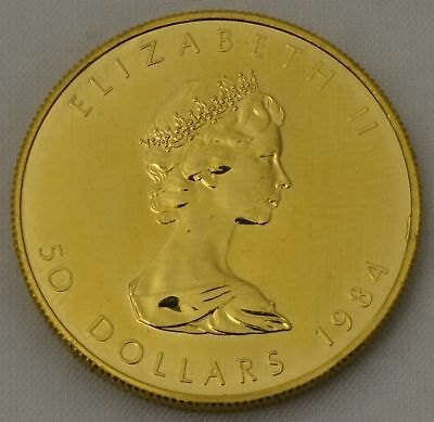 1 OZ Gold Maple Leaf 1984 Kanada 50 Dollars Goldmünze 999,9 eine Unze