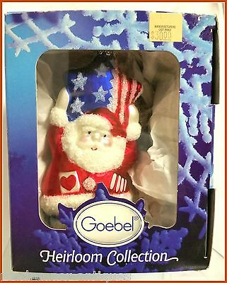 Goebel Christmas Patriotic Ornament Retired Blown Glass MIB Santa Pride Germany