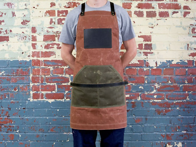 Leather Canvas Apron Waxed Canvas Apron Work Apron Cross Strap Apron NEW