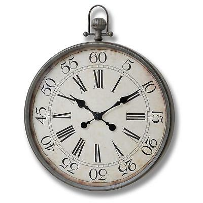 Large Vintage Pocket Watch Style Wall Clock Shabby Chic Retro Antique White 60cm