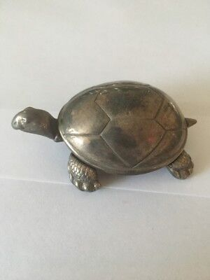 Reed & Barton Silver Color Tortoise Turtle Silver Music Box Baby