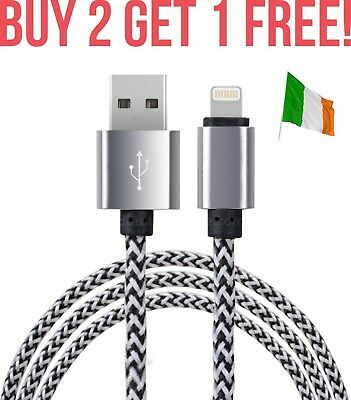 Silver FAST Charge Cable Braided Extra Strong Charger For iPhone 6 5 7 SE iPod