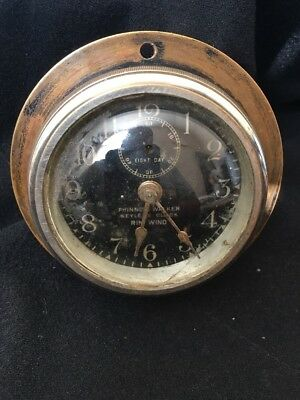1900's Broadway Phinney Walker Rim Wind Car Or Boat Clock Keyless 8 Day Working