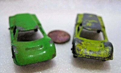 TWO Vintage TootsieToy Green Ford GT G.T. #2 Die Cast Metal vehicle Wheels Rolls