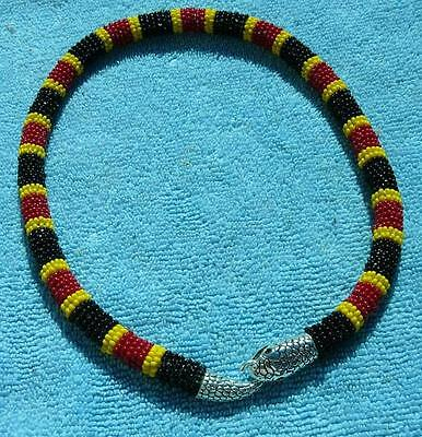 Colorful Coral Snake Traditional Beaded Necklace