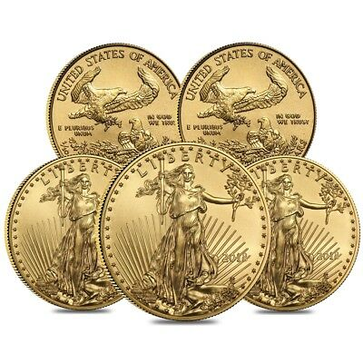 Lot of 5 - 2018 1/10 oz Gold American Eagle $5 Coin BU