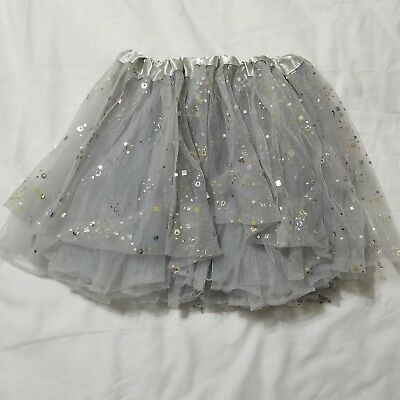 Girls Skirt 2T Gray Silver Sequin Tulle Tutu Sparkle Holiday Formal