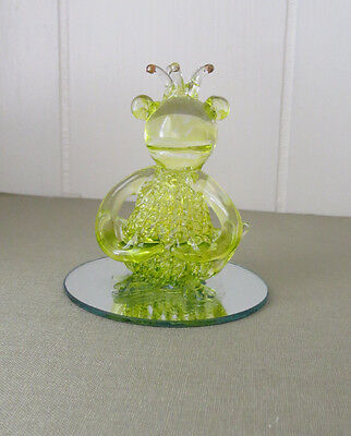 Spun Glass Green Frog w/ Crown Whimsical Figurine on Mirror Base vintage
