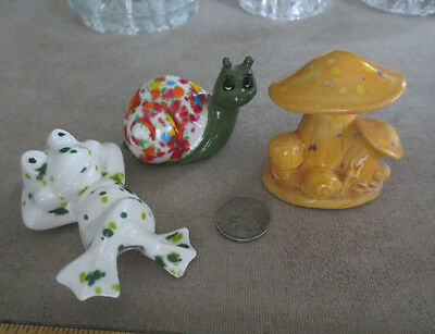 3 Vintage Animal Figurines Plant Pot Sitters Fairy Garden Whimsical Frog Snail
