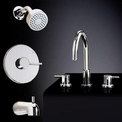 Signature Hardware Rotunda Tub and Shower Set #2 With Widespread Sink Faucet