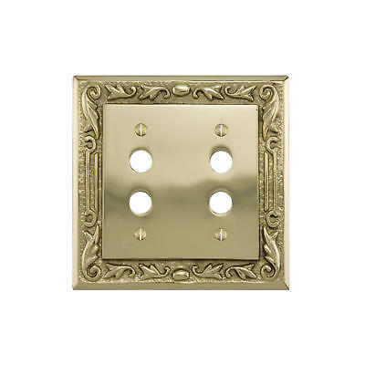 Signature Hardware Floral Design Solid Brass Double Push Button Plate
