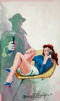 Basil Gogos Original Art Painting Pulp Noir Acrylic on Board Book Cover Signed