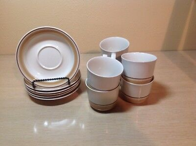 Set Of 6 Water Color Dawn Hearthside Stoneware Cups And Saucers Made In Japan