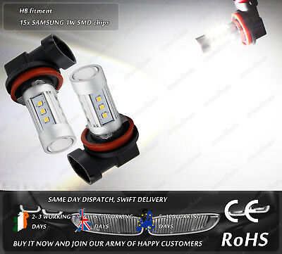 Cree LED H8 Xenon White Daytime Running Lights Fog Parking Spot Bulbs 12V 24V