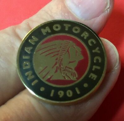 "Indian Motorcycle ""icon Since 1901"" Pin ~ 1"" ~ Red, Gold & Black ~ Pinch Clip"