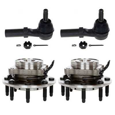 Set of 2 Front Hub Bearings and 2 Outer Tie Rods With Lifetime Warranty