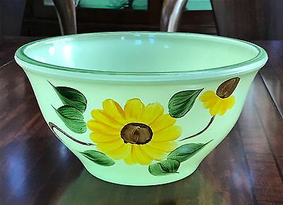 McKee Fired on Jadeite Green Bell Bowl with Handpainted Yellow Flowers 1930s