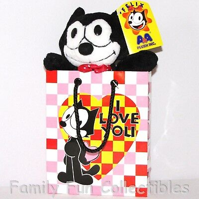 FELIX THE CAT~1990s AA Plush~Gift Bag Doll~I Love You~Stuffed Toy~B~NEW NOS