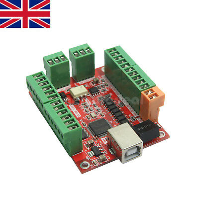 4 Axis MACH3 100Khz CNC USB Card Breakout Board Driver Motion Controller UK SHIP