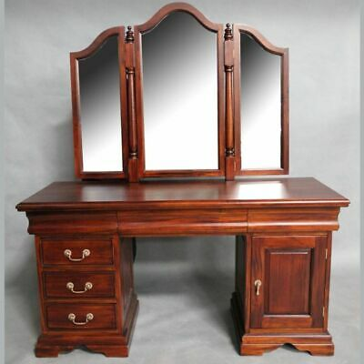 Mahogany Wood Dressing Table & Mirror Bedroom Furniture Antique Style Pre-Order