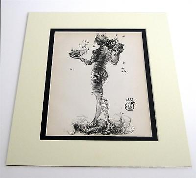 Salvador Dali vintage year 1944 woman with drawers rare old art 11x14 matted