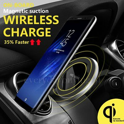 Qi Wireless Car Charger Magnetic Air Vent Charging For Samsung Galaxy Note 8 S8+