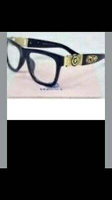 versace sunglasses black FRAME.GOLD TRIM..WITH VERSACE CASE.