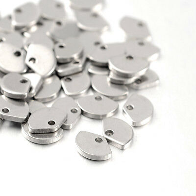50pcs 304 Stainless Steel Tiny Fan Charms Smooth Dangle Pendants End Pieces 7mm