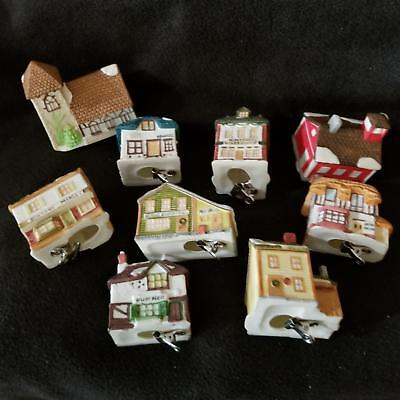 Dept 56 Dickens Village Lite Up Light Covers Bisque Xmas Ornaments Clip On Lot 9