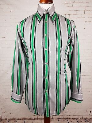 "Vtg 1970s Striped Green / Grey Polycotton Shirt Mod Disco -15""/M- EQ78"