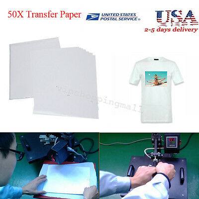 Durable 50 Sheets A4 Inkjet Heat Iron On Transfer Paper for Light Color Fabrics