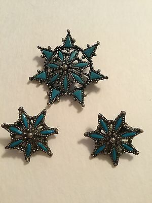 Florenta Of California Vintage Brooch Clip Earrings Faux Turquoise Silver