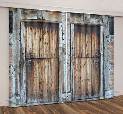 Rustic Wooden Door Old Barn Cool Fabric Curtain Panels Window Decor Accessories