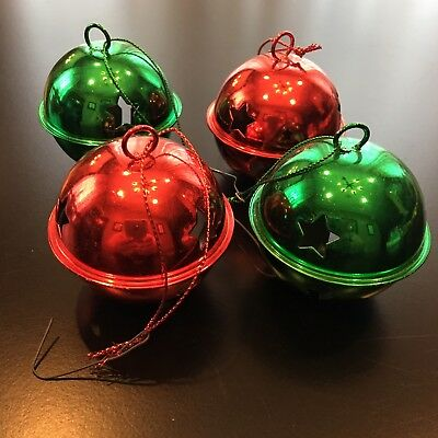 Lot of 4: Shiny Red & Green Christmas Hanging Bell Ornaments