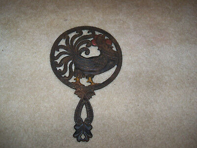 "Vintage black cast iron rooster trivet 12"", chicken poultry hen, heavy"