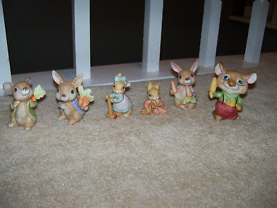 Vintage Mixed Lot of 6 HOMCO Porcelain Bunny Rabbits Figurine Mouse