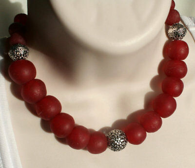 African Ghana Recycled Red Glass Bead Antique Style Tibetan Statement Necklace