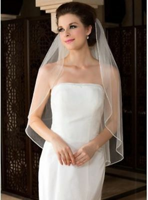 White/Ivory 1-Layer Elbow Length Rhinestone Edge Wedding Bridal Veil With Comb