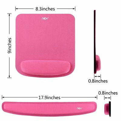 Pink Comfortable Mouse Pad With Keyboard Memory Foam Wrist Rest Pad Kit For