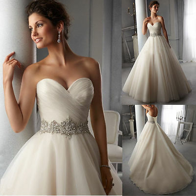 2018 New White/Ivory Lace Wedding Dress Bridal Gown Size  6 8 10 12 14 16