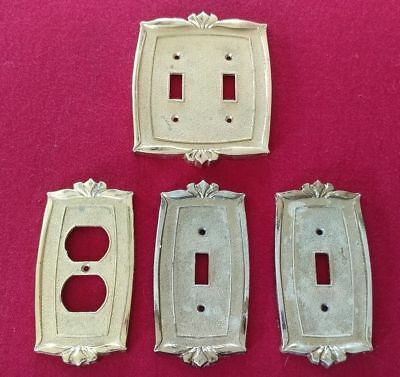 Vintage Gold Metal Outlet & Switch Plate Covers Lot of 4