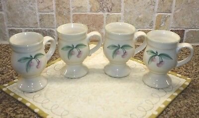 Pfaltzgraff GARDEN PARTY set of FOUR pedestal footed coffee tea mugs cups cherry