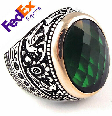 Special Turkish Handmade 925 Sterling Silver Jewelry Emerald Faceted Men's Ring