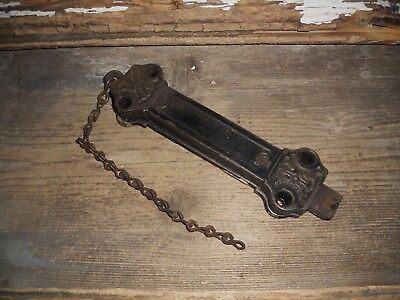 VTG Old Large Heavy Cast Iron Working Spring Loaded Pull Bolt Door Lock & Chain
