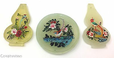 Stunning Rare Gift Set Estate Old Stock Genuine Jade Chinese Art Flowers & Bird