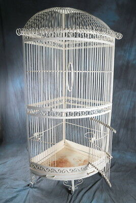 Original Antique 1940s Large Iron Bird Cage, Vintage