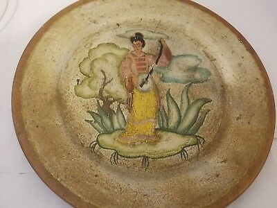 """CHINOISERIE PAINTED WOODEN DINNER PLATE from Hollywood, Cal. 1930's Retro 10.5"""""""