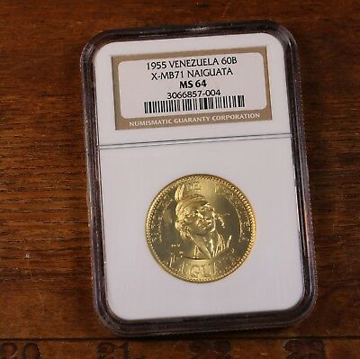 1955 Venezuela 60B X-MB71 Naiguata NGC Certified MS64 64 Graded Gold Coin Commem